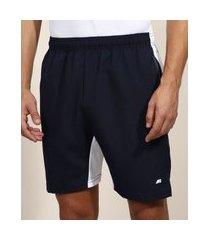 bermuda masculina esportiva ace com recorte e bolsos azul marinho