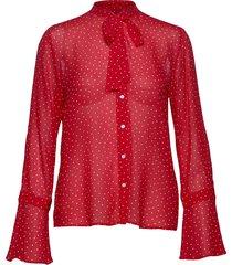 d1. french dot chiffon bow blouse blouse lange mouwen rood gant