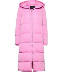 yaspuffa long down coat s. gevoerde lange jas roze yas