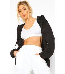 basic hoodie met rits, black