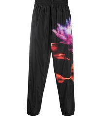 marcelo burlon county of milan flower print track pants - black