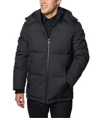 elie tahari men's heathered quilted puffer parka