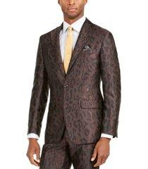 tallia orange men's slim-fit leopard-print suit jacket