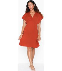 vila vijahula s/s dress/ki loose fit dresses ljus röd