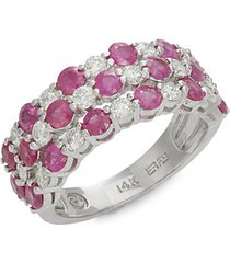 14k white gold, ruby & diamond 3-tier ring