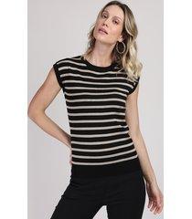 blusa de tricô feminina muscle tee listrada decote redondo preta