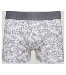 cueca masculina mash boxer estampada de folhagem branco