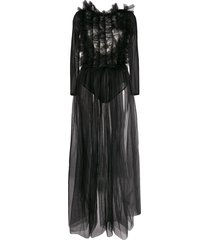 alchemy ruffle-chest backless tulle gown - black