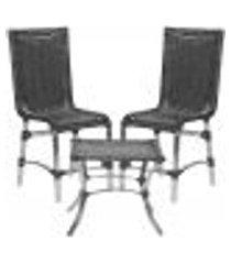 jogo cadeiras 2un e mesa de centro sevilha para edicula jardim area varanda descanso - preto