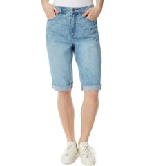 frayed high rise extended bermuda shorts