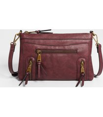 maurices womens burgundy zipper crossbody bag red