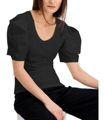 inc international concepts cotton poplin elbow-sleeve top, created for macy's