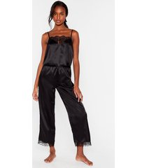 womens lace stay home 4-pc pajama pants set - black