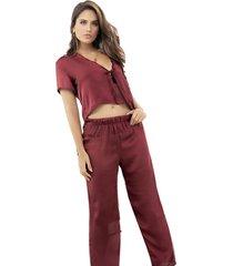 pijama pantalon largo vinotinto adriana arango ref. 7856