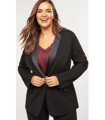 lane bryant women's bryant blazer with shawl collar - satin trims 26 black