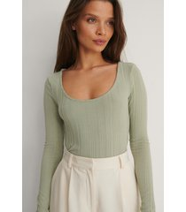 na-kd basic recycled ribbstickad topp - green