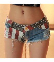 sexy mini short jeans mujer summer beach club bandera de la estrella