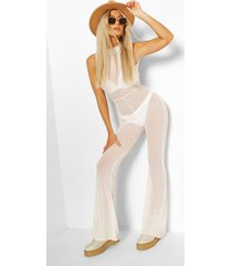 tall stripe mesh high neck flared jumpsuit, ivory