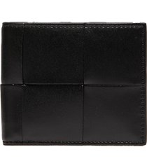 oversize intrecciato leather bifold wallet