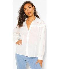 geweven oversized blouse met ruches, white