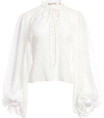 alice+olivia julius diamond pattern blouse - white