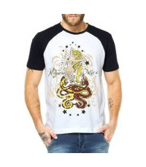 camiseta raglan criativa urbana sereia e serpentes náutico