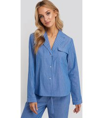 na-kd lingerie chambray cotton night shirt - blue