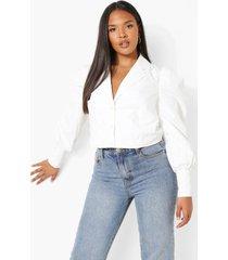 plus getailleerde blouse met pofmouwen, white