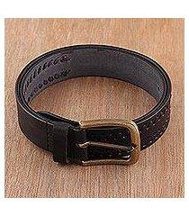 men's leather belt, 'onyx weave' (india)