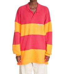 balenciaga stripe campaign logo oversize polo sweatshirt, size small in rasp multi at nordstrom