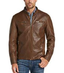 pronto uomo camel modern fit moto jacket