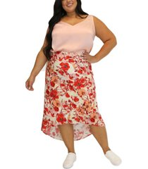 women's plus size floral printed high low skirt