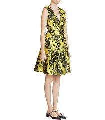 yoko sleeveless floral a-line jacquard dress