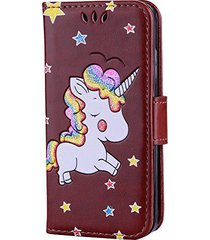 iphone se case,xyx [colorful unicorn][card slot][wallet][kickstand] pu leather f