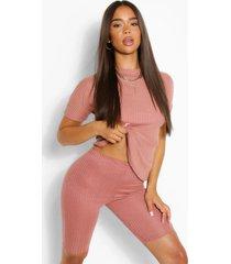 bandage boxy t-shirt & short set, dusky pink