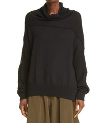 women's y's by yohji yamamoto lace patchwork pointelle knit pullover, size 2 - black