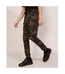 calça de sarja masculina jogger skinny camuflada com cordão multicor