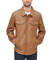 levi's men's classic faux-leather shirt jacket