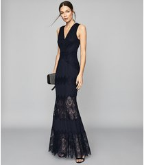 reiss adala - lace detailed maxi dress in navy, womens, size 12