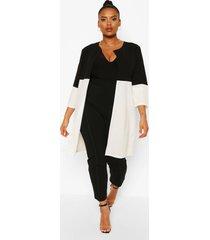 plus colour block duster jas met driekwartsmouwen, ivoor