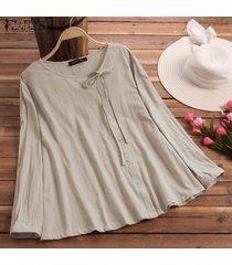 zanzea vendimia de las mujeres camisa étnica tops casuales redondos hacia abajo del cuello del lazo de la blusa de verano -beige