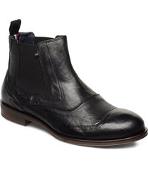 dress casual leather chelsea shoes chelsea boots svart tommy hilfiger