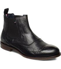 dress casual leather chelsea stövletter chelsea boot svart tommy hilfiger