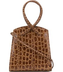 little liffner twisted crocodile-effect tote - brown