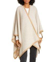 women's rag & bone contrast edge wool blend poncho, size one size - ivory