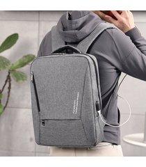 mochila masculina portátil grande mochila 15.6 pulgadas oxford-gris