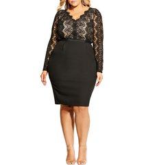 plus size women's city chic hourglass beauty long sleeve cocktail dress