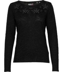 alba floral top stickad tröja svart superdry