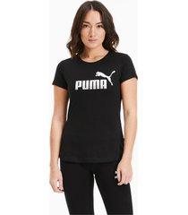 essentials+ metallic t-shirt voor dames, zilver/zwart, maat m | puma