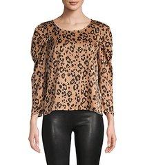 leopard-print puffer-sleeve top